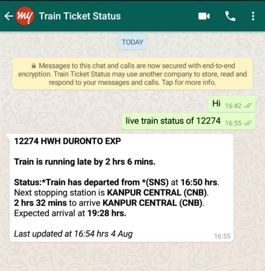 Here's How You Can Check Your IRCTC Train Status on WhatsApp